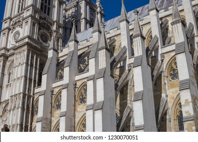 LONDON, UK- October, 2018. Westminster Abbey, The Collegiate Church of St Peter at Westminster - Gothic church in City of Westminster, London.