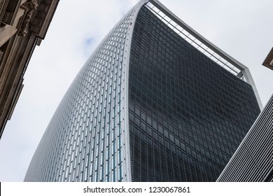 LONDON, UK- October, 2018. Windows of Skyscraper Business Office, Corporate building in London City, England, UK