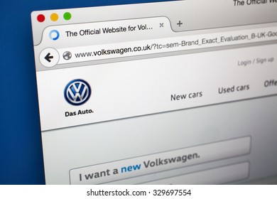 LONDON, UK - OCTOBER 20TH 2015:  The homepage of the official website of Volkwagen, on 20th October 2015.