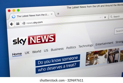 LONDON, UK - OCTOBER 20TH 2015: The homepage of the Sky News website, on 20th October 2015.