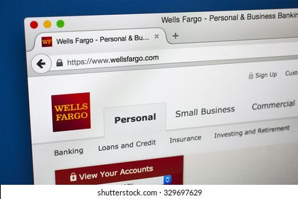 LONDON, UK - OCTOBER 20TH 2015: The homepage of the official Wells Fargo website, on 20th October 2015.