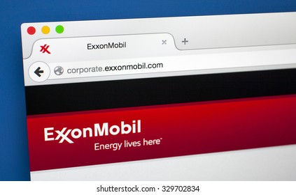 LONDON, UK - OCTOBER 20TH 2015: The homepage of the official ExxonMobil website, on 20th October 2015.