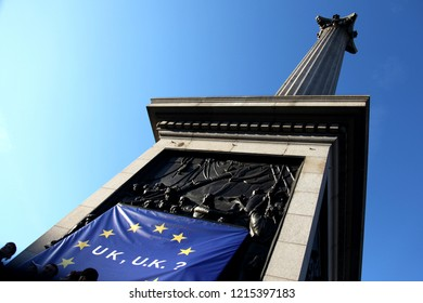 London, UK - October 20th 2018 : EU flag on Nelson's Column Trafalgar Square. Peoples Vote March against Brexit