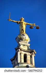 London, UK, October 21, 2007 :  Scales of Justice of the Central Criminal Court fondly known as The Old Bailey