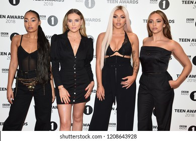 LONDON, UK. October 21, 2018: Little Mix - Leigh-Anne Pinnock, Perrie Edwards, Jesy Nelson & Jade Thirlwall - at tthe BBC Radio 1 Teen Awards 2018 at Wembley Stadium.