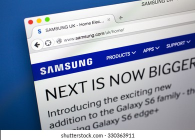 LONDON, UK - OCTOBER 21ST 2015: The homepage of the official Samsung company website, on 21st October 2015.