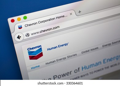 LONDON, UK - OCTOBER 21ST 2015: The homepage of the official Chevron Corporation website, on 21st October 2015. Chevron Corporation is an American multinational energy corporation based in California.