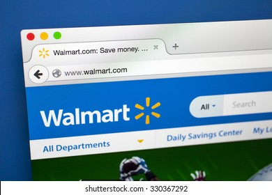 LONDON, UK - OCTOBER 21ST 2015: The homepage of the official Walmart website, on 21st October 2015.  Walmart is an American multinational retail corporation headquartered in Arkansas.