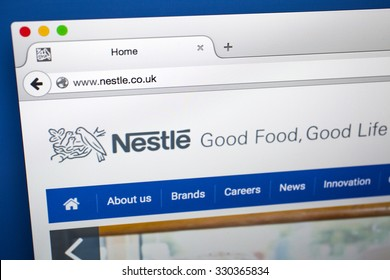 LONDON, UK - OCTOBER 21ST 2015:The homepage of the official Nestle website, on 21st October 2015.  Nestle is a Swiss food and beverage company based in Vevey, Switzerland.