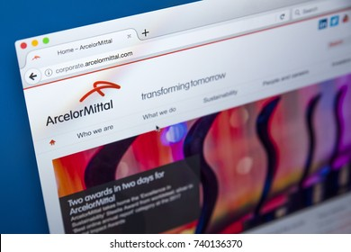 LONDON, UK - OCTOBER 21ST 2017: The homepage of the official website for ArcelorMittal - the Luxembourg-based steel manufacturing corporation, on 21st October 2017.