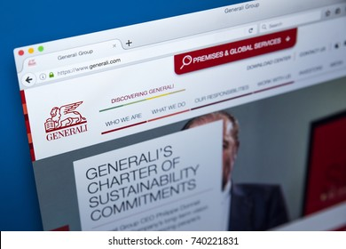 LONDON, UK - OCTOBER 21ST 2017: The homepage of the official website for the Generali Group - the largest insurance company in Italy and third-largest in the world, on 21st October 2017.