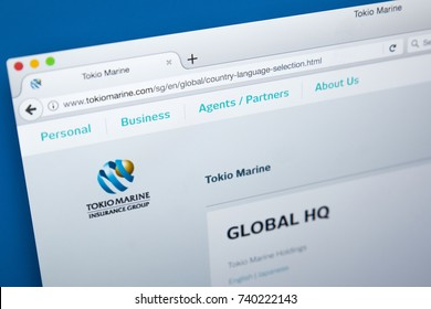 LONDON, UK - OCTOBER 21ST 2017: The homepage of the official website for Tokio Marine Holdings Inc - the multinational insurance holding company, on 21st October 2017.