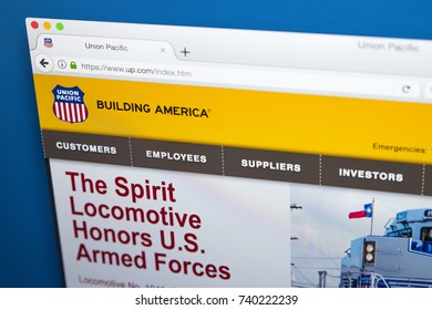 LONDON, UK - OCTOBER 21ST 2017: The homepage of the official website for the Union Pacific Railroad, the freight hauling railroad which operates 8500 locomotives in the USA, on 21st October 2017.