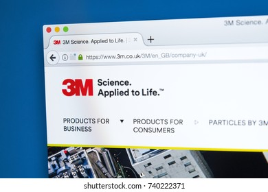 LONDON, UK - OCTOBER 21ST 2017: The homepage of the official website for the 3M Company, also known as the Minnesota Mining and Manufacturing Company, on 21st October 2017.