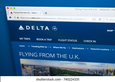 LONDON, UK - OCTOBER 21ST 2017: The homepage of the official website for Delta Airlines, the major American Air Line, on 21st October 2017.