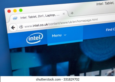 LONDON, UK - OCTOBER 22ND OCTOBER 2015: The homepage of the official Intel Corporation website, on 22nd October 2015.
