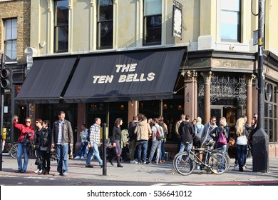 London, UK, October 23, 2011 : The Ten Bells public house situated at the corner of Commercial Street and Founier Street which is well known for its association with Jack the Ripper