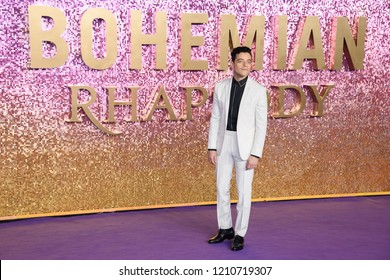 "LONDON, UK. October 23, 2018: Rami Malek at the world premiere of ""Bohemian Rhapsody"" at Wembley Arena, London."
