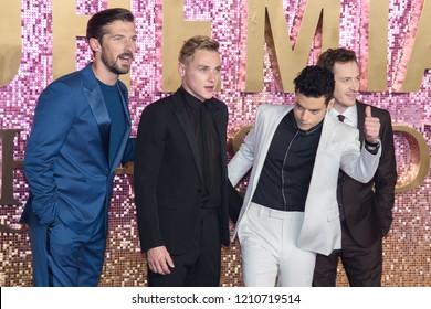 "LONDON, UK. October 23, 2018: Gwilym Lee, Ben Hardy, Rami Malek & Joe Mazzello at the world premiere of ""Bohemian Rhapsody"" at Wembley Arena, London."