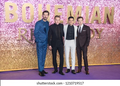 "LONDON, UK. October 23, 2018: Gwilym Lee, Ben Hardy, Rami Malek & Joe Mazzello at the world premiere of ""Bohemian Rhapsody"" at Wembley Arena, London."