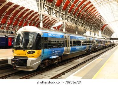 LONDON, UK - OCTOBER 24,2017: Trains in Paddington statiom of London, UK, Europe