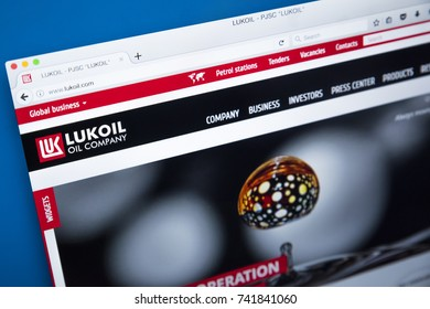 LONDON, UK - OCTOBER 25TH 2017: The homepage of the official website for the Lukoil Oil Company - one of Russias largest oil companies, on 25th October 2017.