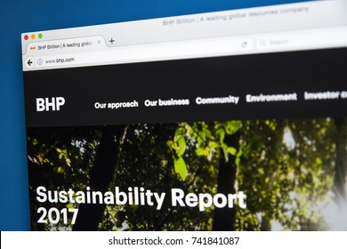 LONDON, UK - OCTOBER 25TH 2017: The homepage of the official website for  BHP Billiton - the multinational mining, metals and petroleum company, on 25th October 2017.