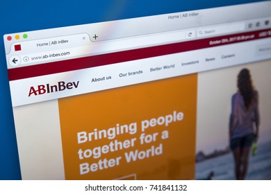 LONDON, UK - OCTOBER 25TH 2017: The homepage of the official website for AB InBev, the Belgian beverage and brewing company, on 25th October 2017.