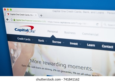 LONDON, UK - OCTOBER 25TH 2017: The homepage of the official website for Capital One Financial Corporation, on 25th October 2017.