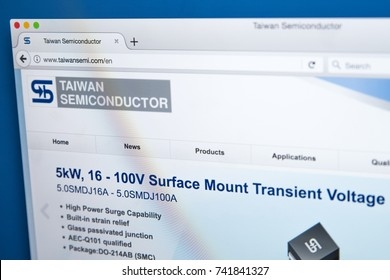 LONDON, UK - OCTOBER 25TH 2017: Homepage of the official website for Taiwan Semiconductor Manufacturing Company, the world's largest dedicated independent semiconductor foundry, on 25th October 2017.