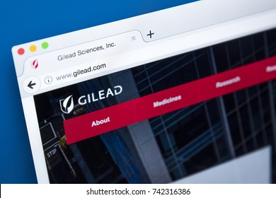 LONDON, UK - OCTOBER 25TH 2017: The homepage of the official website for Gilead Sciences - an American biopharmaceutical company, on 25th October 2017.