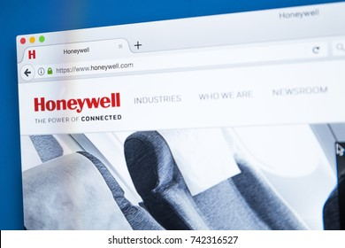 LONDON, UK - OCTOBER 25TH 2017: The homepage of the official website for Honeywell International Inc - an American company that produces commercial and consumer products, on 25th October 2017.