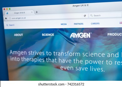 LONDON, UK - OCTOBER 25TH 2017: The homepage of the official website for Amgen Inc - the American biopharmaceutical company, on 25th October 2017.
