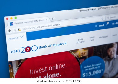 LONDON, UK - OCTOBER 25TH 2017: The homepage of the official website for the Bank of Montreal, on 25th October 2017.