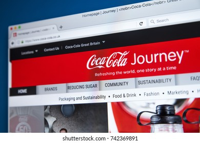 LONDON, UK - OCTOBER 25TH 2017: The homepage of the official website for the Coca-Cola Company, on 25th October 2017.