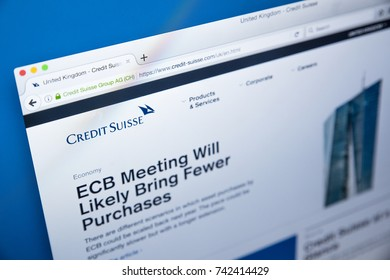 LONDON, UK - OCTOBER 25TH 2017: The homepage of the official website for Credit Suisse - the Swiss financial services holding company, on 25th October 2017.