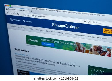 LONDON, UK - OCTOBER 26TH 2017: The homepage of the official website for the Chicago Tribune, on 26th October 2017.  The daily newspaper based in Chicago, Illinois and founded in 1847.