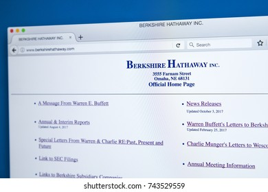 LONDON, UK - OCTOBER 26TH 2017: The homepage of the official website for Berkshire Hathaway Inc - an American multinational comglomerate holding company, on 26th October 2017.