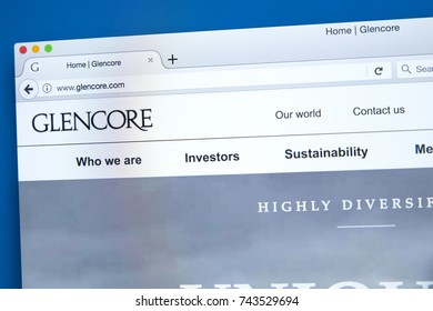 LONDON, UK - OCTOBER 26TH 2017: The homepage of the official website for Glencore Plc - the commodity trading and mining company, on 26th October 2017.