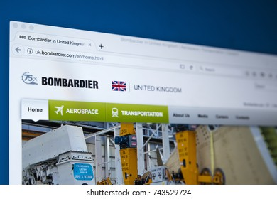 LONDON, UK - OCTOBER 26TH 2017: The homepage of the official website for Bombardier - the multinational aerospace and transportation company, on 26th October 2017.