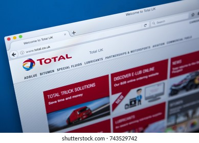 LONDON, UK - OCTOBER 26TH 2017: The homepage of the official website for TOTAL - the French multinational oil and gas company, on 26th October 2017.