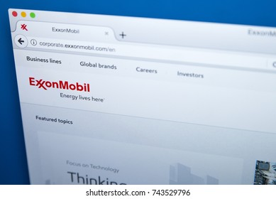 LONDON, UK - OCTOBER 26TH 2017: The homepage of the official website for ExxonMobil - the American oil and gas corporation, on 26th October 2017.