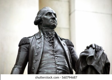 London, UK, October 27, 2007 : George Washington statue erected outside The National Gallery in Trafalgar Square, which was presented by the Commonwealth of Virginia