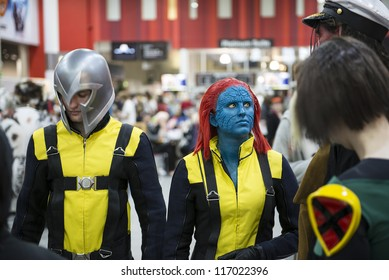 LONDON, UK - OCTOBER 27: X-men cosplayers at the London Comicon MCM Expo. Most participants dress up in superhero costumes to compete in the Euro Cosplay Championship. October 27, 2012 in London.