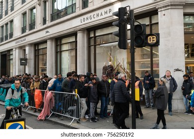 LONDON, UK - October 29, 2017: People waiting in front of longchamp store London