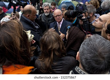 LONDON, UK - OCTOBER 30TH 2011: Ex Banker David Buik being interviewed by the Press at the Occupy London protest camp outside St. Paul's Cathedral in London on 30th October 2011.