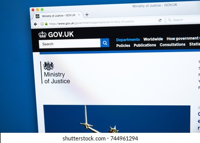 LONDON, UK - OCTOBER 30TH 2017: The homepage of the Ministry of Justice on the UK Government website, on 30th October 2017.