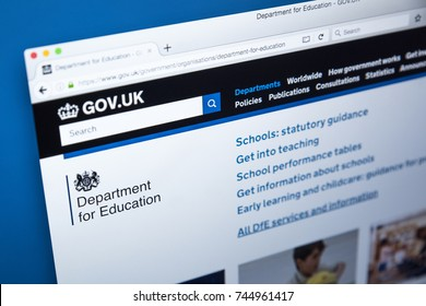 LONDON, UK - OCTOBER 30TH 2017: The homepage of the Department for Education on the UK Government website, on 30th October 2017.