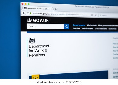 LONDON, UK - OCTOBER 30TH 2017: The homepage of the Department for Work and Pensions on the UK Government website, on 30th October 2017.