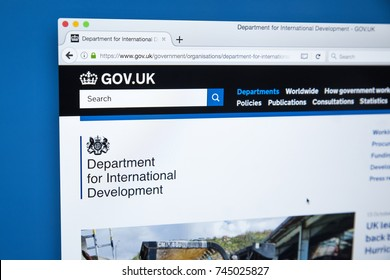 LONDON, UK - OCTOBER 30TH 2017: The homepage of the Department for International Development on the UK Government website, on 30th October 2017.